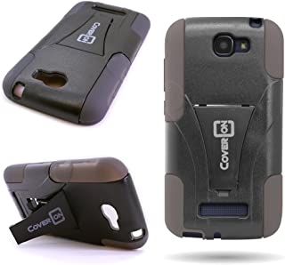 CoverOn Hybrid Rugged Kickstand Case Hard Soft Gel Cover for Alcatel One Touch Fierce 2 / Pop Icon A564c - Black Hard Gray Soft Silicone
