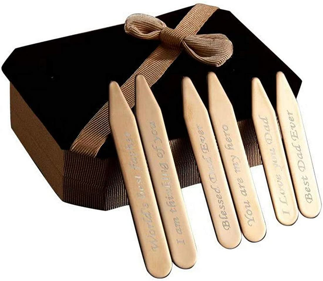 6Pcs Love Note Rose Gold Stainless steel Collar Stays in a Nice Gift Box Size 2.2