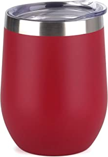 SUNWILL Vaccum Insulated Wine Tumbler with Lid (Wine Red), Stemless Stainless Steel Insulated Wine Glass 12oz, Double Wall...
