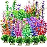 30 Pezzi Piante per acquario, plastica piante acquatiche, piante d'acquario artificiale, decorazione acquario piante di plastica, realistico, sicuro per i pesci