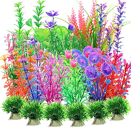 30 Piezas Plantas Artificiales de Acuario, plástico Plantas acuáticas, Plantas Plástico Peceras, Plantas de decoración para acuarios, Realista, Seguro para los Peces