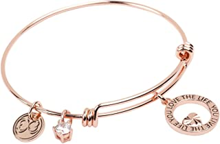 "Baubelle Expandable Inspirational Stackable Charm Bracelet ""Love The Life You Live"