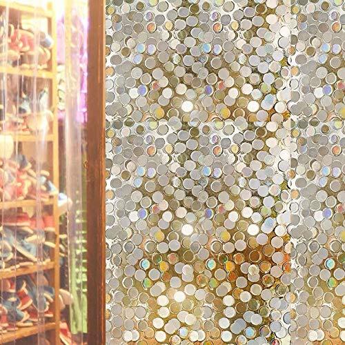 LMKJ Película de Ventana estática 3D Color Pegatina de Vidrio Tintado Redondo PVC película autoadhesiva Pegatina de Vidrio de Vinilo Decorativo
