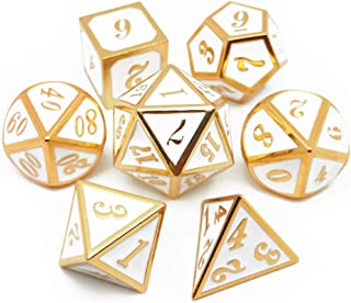 Haxtec 7PCS Metal Dice Set White Gold D&D Dice for Dungeons and Dragons Games-Glossy Enamel Dice(Gold White)