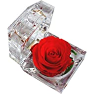 DeFancy Handmade Preserved Rose... DeFancy Handmade Preserved Rose with Acrylic Crystal Ring Box for Proposal Engagement (Red)
