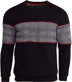 BRAVE SOUL Mens MCMLXXII Check Overhead Fleece Sweatshirt Jumper Checked Panel