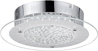 AUDIAN Flush Mount Ceiling Light Ceiling Lamp Dimmable LED Modern Roundness Glass Shade K9 Crystal Bead Ceiling Flush Mount Polished Chrome Light for Porch Balcony Children's Room Bathroom W11H2.8''