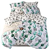 LAYENJOY Cactus Duvet Cover Set Queen, 100% Cotton Bedding, Green Cactus Park Pattern Printed on White Reversible Black Cactus, 1 Botanical Comforter Cover Full 2 Pillowcases for Kids Teens Boys Girls