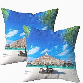 Ducan Lincoln Pillow Case 2PC 18X18,Funda De Almohada De Tiro Cuadrado Cubiertas Playa Tropical En Palmeras Laguna Azul Pocos Pascua Ambos Lados Imprimir Funda De Almohada con Cremallera Cojín