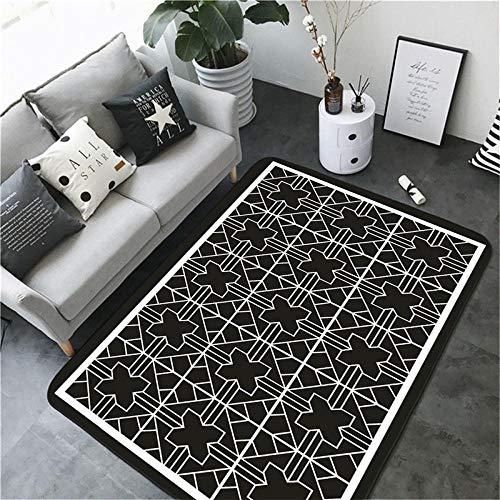 TANGYUAN Alfombra Pasillo Cocina Escalera Diseño Moderno - Alfombra Interior patrón de línea Blanca diseño Negro Elegante, Exquisito Suave y Esponjoso-Los 60x90cm