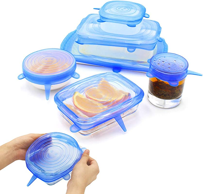 NEWBEA Silicone Stretch Lids 6 Pack Of Various Sizes To Fit Various Sizes And Shapes Of Containers Reusable Durable And Expandable Food Covers As Seen On TV Keeping Food Fresh Dishwasher And Freezer
