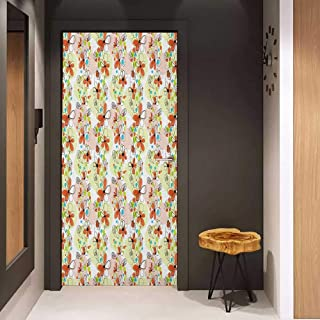 Onefzc Door Wall Sticker Floral Doodle Style Spring Blossom Cheerful Season Botanical Foliage Mural Wallpaper W23 x H70 Rose Burnt Sienna Pale Green