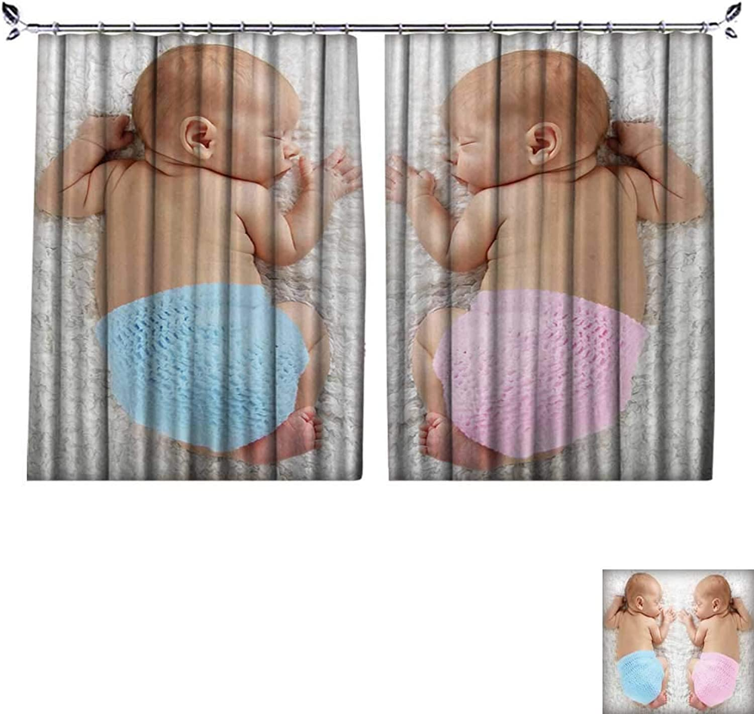 DESPKON UV-Proof Polyester Material Newborn Twin Babies,boy and Girl,Sleeping on a White Blanket. Floor Curtains W55 x L39
