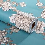 Decorativo floral Contacto Papel autoadhesivo cajón estante maletero extraíble Peel y Stick - Papel pintado para estantes cajón muebles decoración de pared 45 x 200 cm