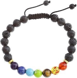 JOVIVI- Braccialetto Lava Reiki terapia energetica, bracciale Yoga  7Chakra guarigione, 8mm, braccialetto intr...