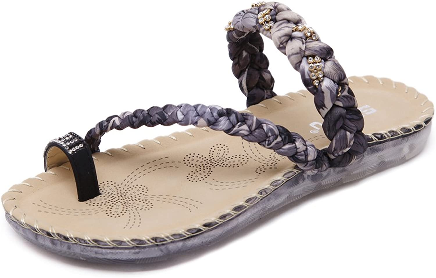 Baviue Women's Leather Fashion Flat Flip Flops Thong Sandals
