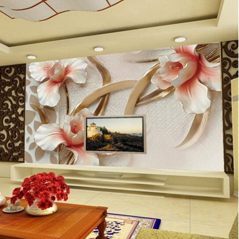 70% OFF Outlet Custom 3D Photo Wall Paper Stylish Lily Relief Ranking TOP13 Minimalist Modern
