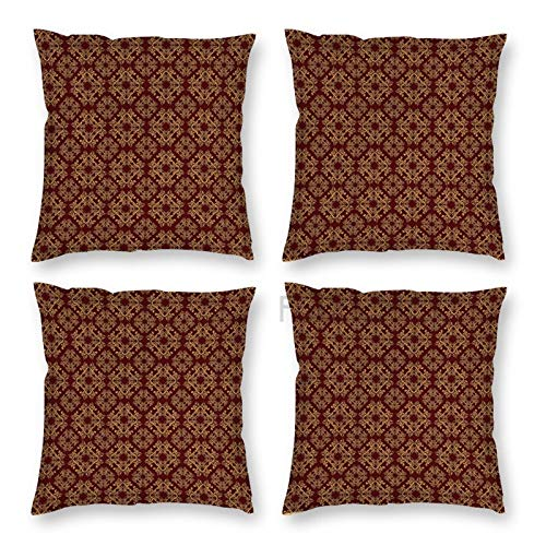 JamirtyRoy1 Pillow Covers 18 x 18 Inch Set of 4, Royal Victorian with Antique Design Elements Baroque Swirls Squares, Mustard Decorative Throw Pillow Case Cushion Cover for Sofa Couch Sofa Home Decor