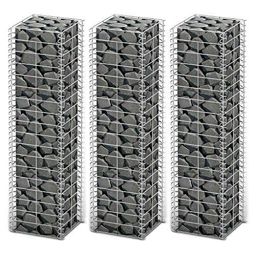 3X Steingabione/Steinkorb/Gabionen hochbeet, aus Verzinktem Stahl, Verschiedene Größen wählbar, Stützmauern Gartenzaun Gabionenwand Mauer Säule, 25 x 25 x 100 cm, 3,5 mm