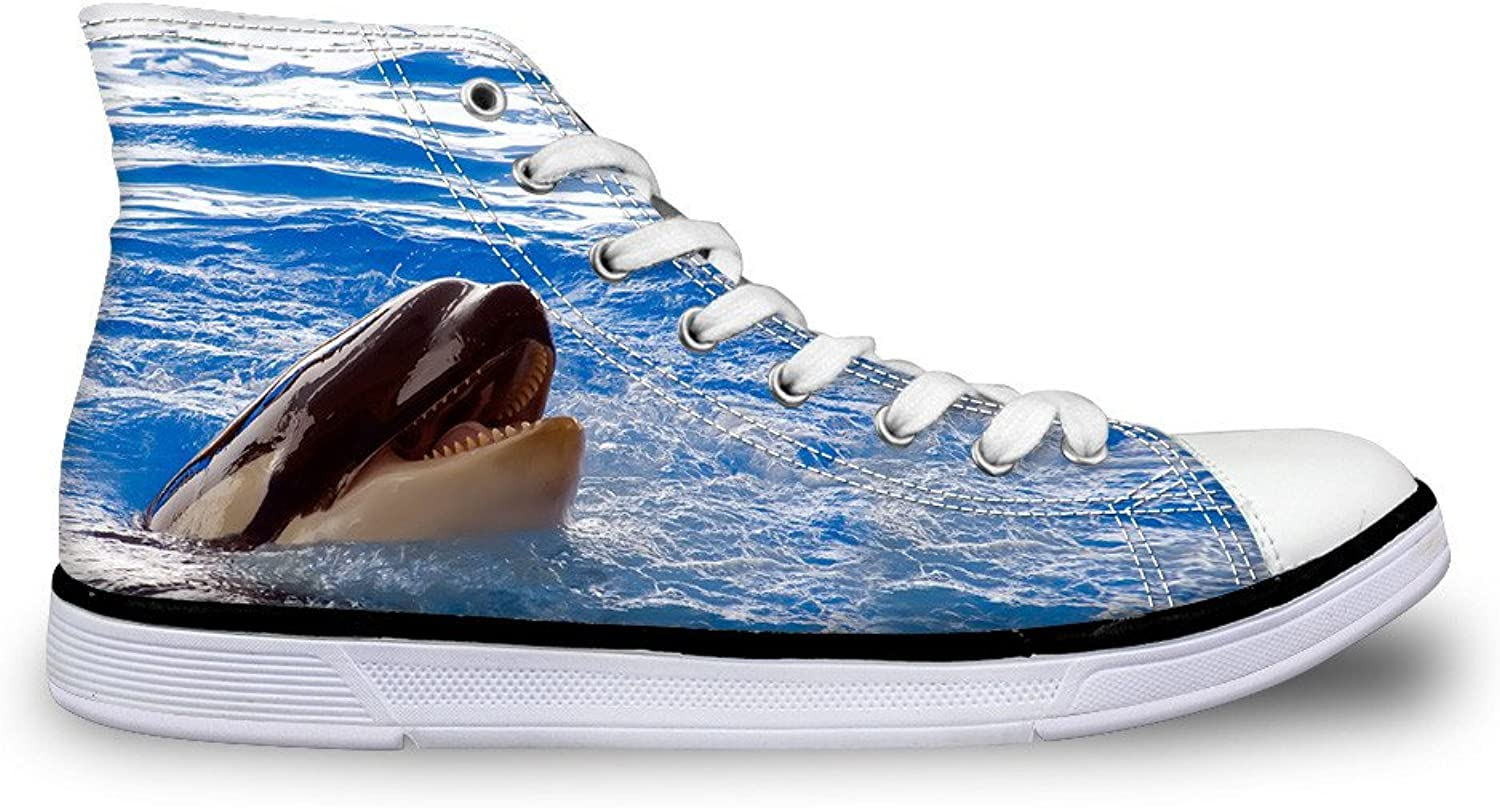 Chaqlin Women's Casual Canvas shoes bluee Dolphin High Top Lace Up Flat Fashion Sneakers Size 39