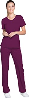 Infinity Women's Scrub Set - 2625A Mock Wrap Top & 1124A Low Rise Slim Pull-On Pant