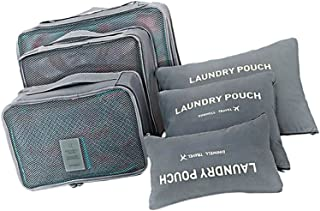 6 Set of Packing Cubes,Travel Luggage Packing Organizers with Zipper - Gray