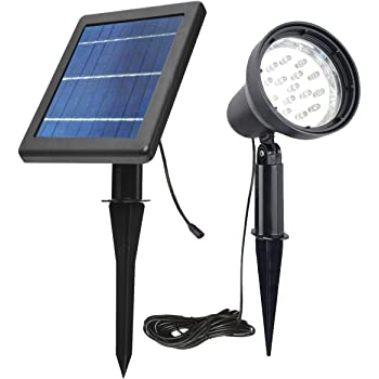 Solar Spotlights Outdoor Waterproof Bright Solar Wall Light Led Security Flood Light Solar Powered for Flag Patio Front Door Driveways-Automatically Activates at Dusk to Dawn (White)