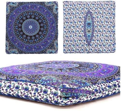 Sophia Art Indian Mandala Floor Pillow Square Ottoman Pouf Daybed Oversized Cushion Cover Cotton Seating Ottoman Poufs Dog/Pets Bed (Multi5)