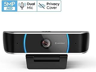 Amcrest 5-Megapixel Webcam with Microphone, Web Cam USB Camera, Computer HD Streaming Webcam for PC Desktop & Laptop w/Mic, Wide Angle Lens & Large Sensor for Superior Low Light (AWC5100)