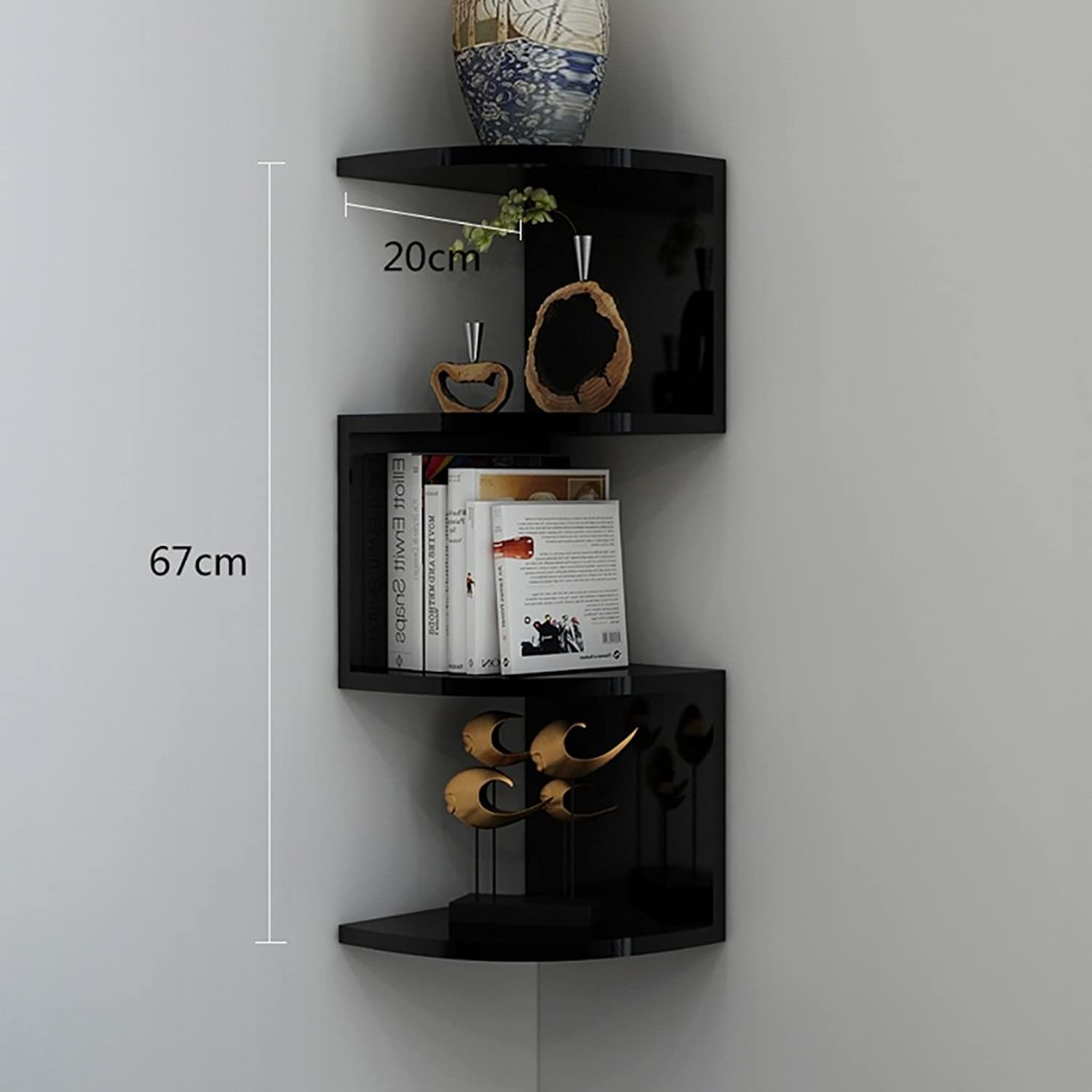 Decorative Accessories White Shelves on The Wall, Wall Racks, Wall Angle Planes, White Decorative Display Stand Floating Shelves (color   Black)