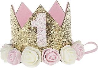 LQZ(TM) Geburtstag Krone 1 Jahr Baby Geburtstagskrone Haarband Haarschmuck Prinzessin Pink Blumen