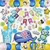 deerzon 男の子 誕生日 飾り付け バルーン セット 動物 風船 装飾 バースデー ガーランド 星 数字 ブルー (動物89点)