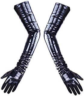 LATEX LONG GLOVES Shine Leather Faux Patent PU 24