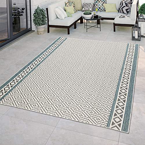 TT Home In- & Outdoor-Teppich Für Balkon Terrasse Küchenteppich Ethno Design Beige Grün, Größe:240x340 cm