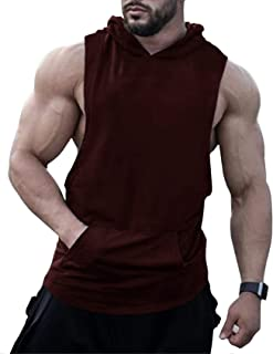URRU Men's Hooded Tank Tops Workout Sleeveless Muscle Shirt with Kangaroo Pocket S-XXL