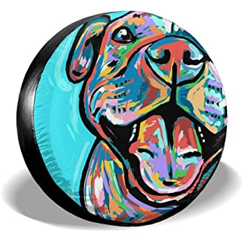 Pitbull Terrier Staffy Dog Lover K9 Jeep Woof Spare Tire Cover Vinyl Black 33 in American Unlimited Gear