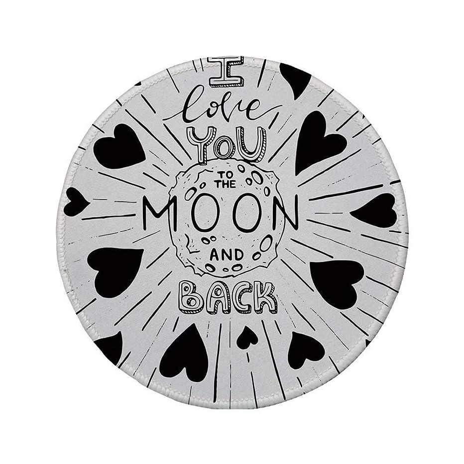 Non-Slip Rubber Round Mouse Pad,I Love You,Futuristic Galactic Stylized Love Expression Monochrome Stylized Illustration Decorative,Black White,11.8
