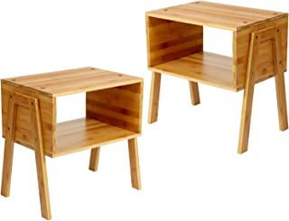 Table de chevet Pipishell, table de chevet en bambou avec 1 compartiment ouvert, table de chevet moderne avec pieds en boi...