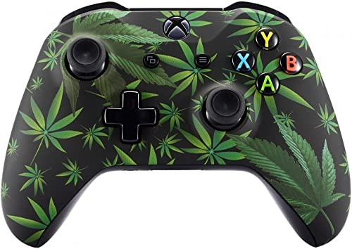 eXtremeRate Green Weeds Faceplate Cover, Soft Touch Front Housing Shell Case, Comfortable Soft Grip Replacement Kit f...