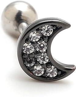 "2 Pieces 16g Rhinestone Moon Upper Ear Cartilage Helix Studs Earrings Lobe Piercings 16 Gauges 1/4"" Bar"