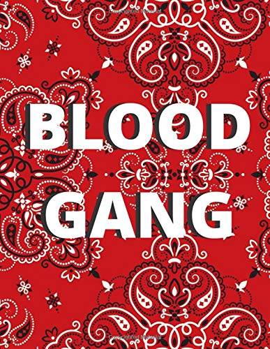 Blood Gang Red Bandana [Design 2] (Blank Lined Journal / Notebook / Songwriting Book) For Real Gangstas