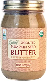 Gopal's Sprouted Organic Raw Pumpkin Seed Butter, 100% Gluten-Free (Unsalted) 15 Ounces | Keto, Paleo and Whole 30-Friendly