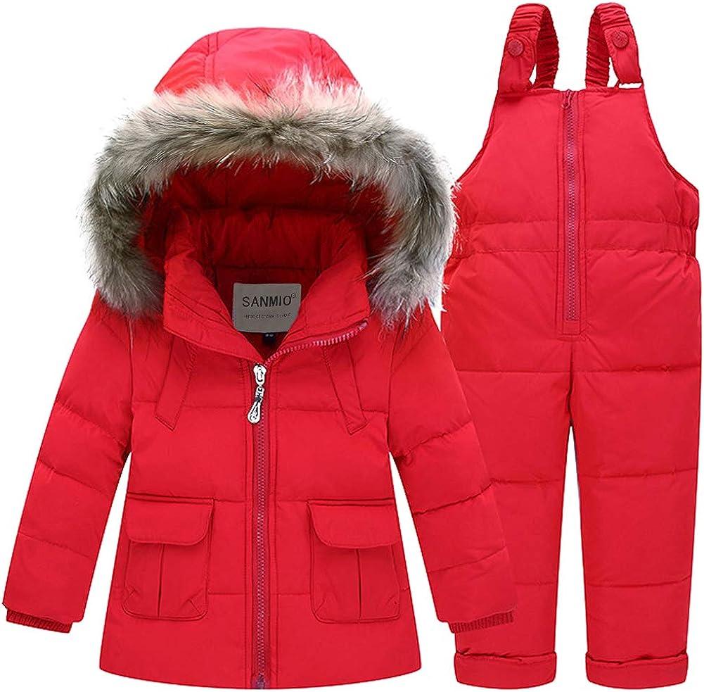 SANMIO Baby Boys Girls Two Piece Snowsuit, Toddler Winter Hooded Puffer Down Jacket Coat with Ski Bib Pants