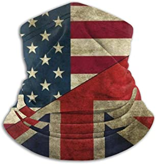 American and British Flags Ski Mask Cold Weather Face Mask Neck Warmer Fleece Hood Winter Hats
