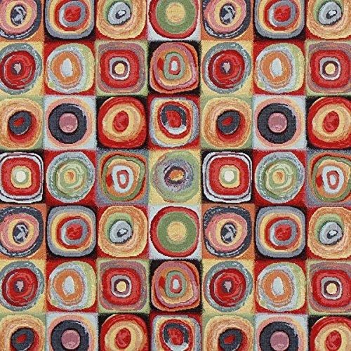 Jacquard Gobelin Kandinsky Kreise 1 — Meterware ab 0,5m — zum Nähen von Outdoor Deko, Kissen/Tagesdecken und Tischdekoration