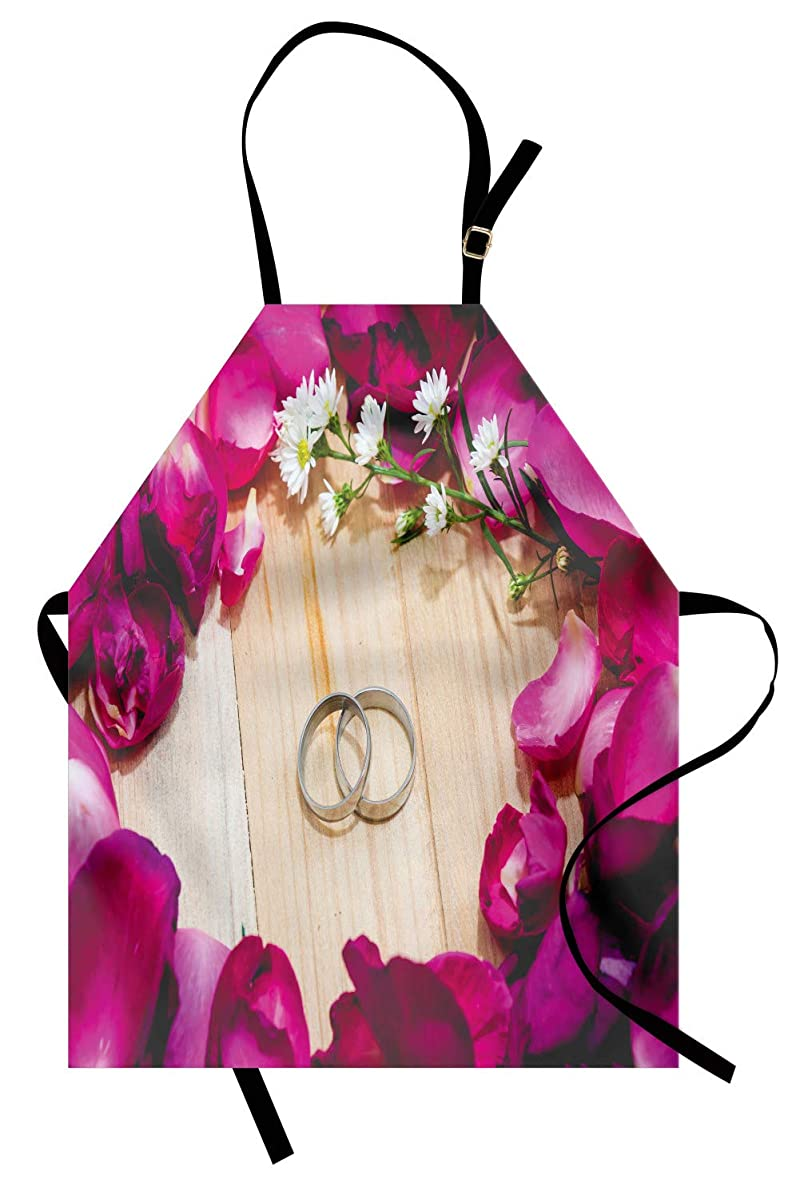 Lunarable Engagement Apron, Two Rings on a Wooden Board Surrounded by Pink Rose Petals Romantic Wedding, Unisex Kitchen Bib Apron with Adjustable Neck for Cooking Baking Gardening, Multicolor
