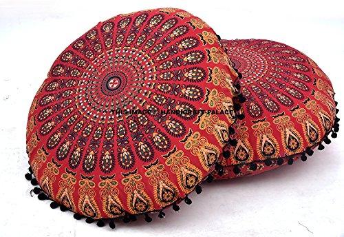 Kiara - 81,3 cm weiches Mandala-Bodenkissen, Meditationskissen, Sitzkissen, Überwurf, Hippie, dekorativ, Boho, indischer Pouf, Ottomane (rot Mirchi).