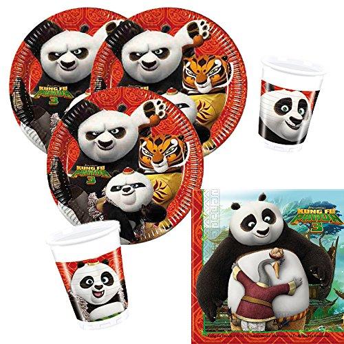 36-teiliges Party-Set Kung Fu Panda 3 - Teller Becher Servietten für 8 Kinder