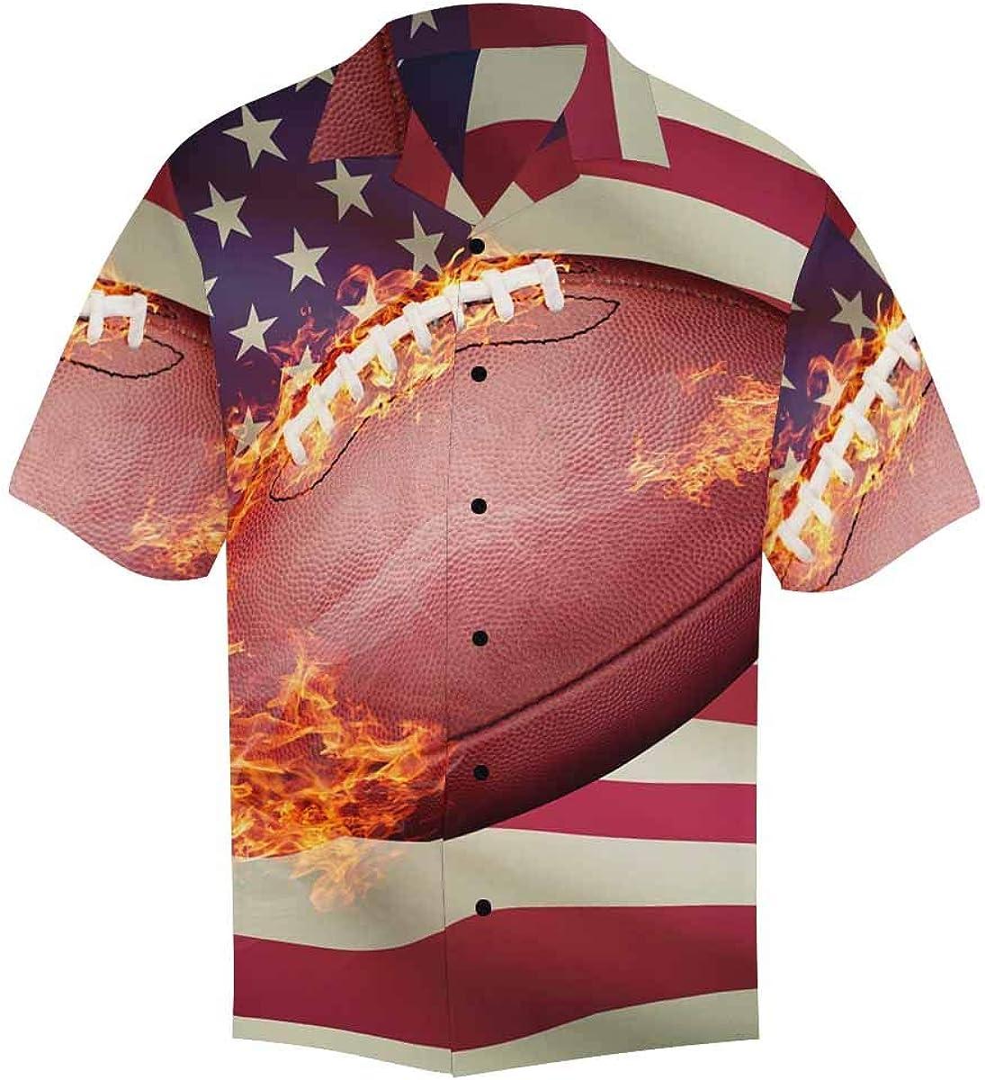 InterestPrint Men's Casual Button Down Sleeve Soccer Short Ball 4 years Many popular brands warranty