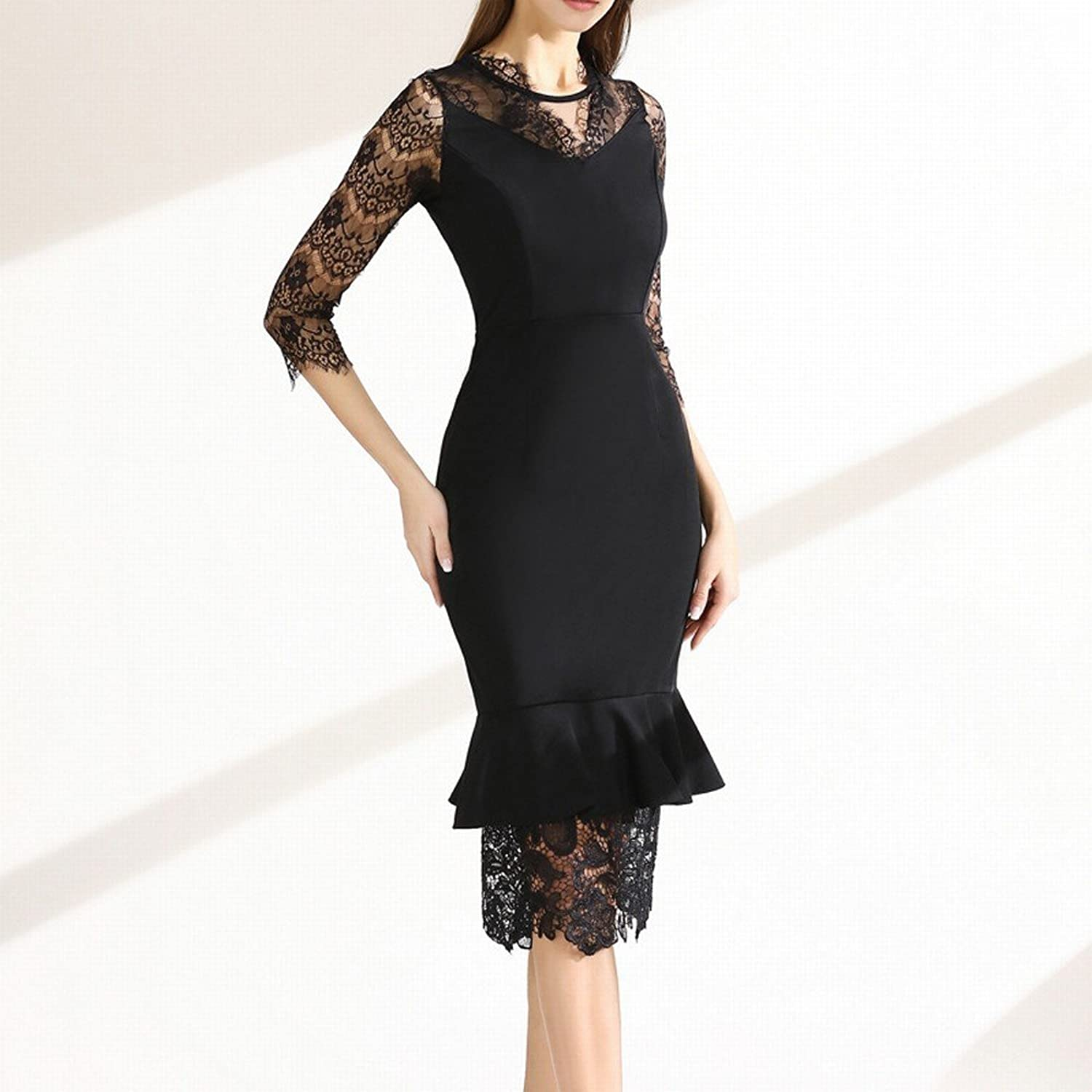 DEED Spring Lace Seven Sleeves in The Long Section of The Openwork Fishtail Skirt